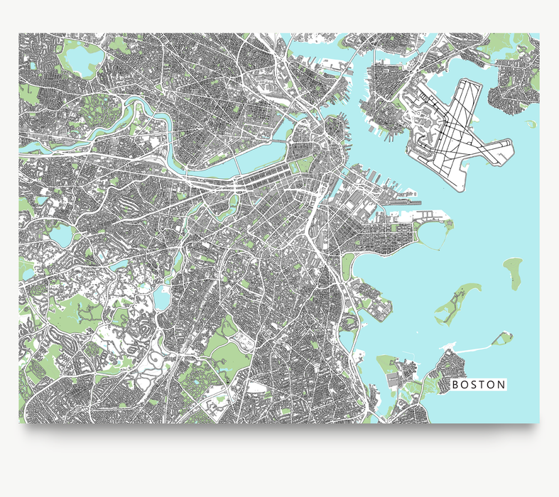 Boston, Massachusetts map art print with city streets and buildings designed by Maps As Art.