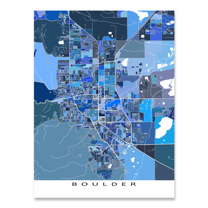 Boulder, Colorado map art print in blue shapes designed by Maps As Art.