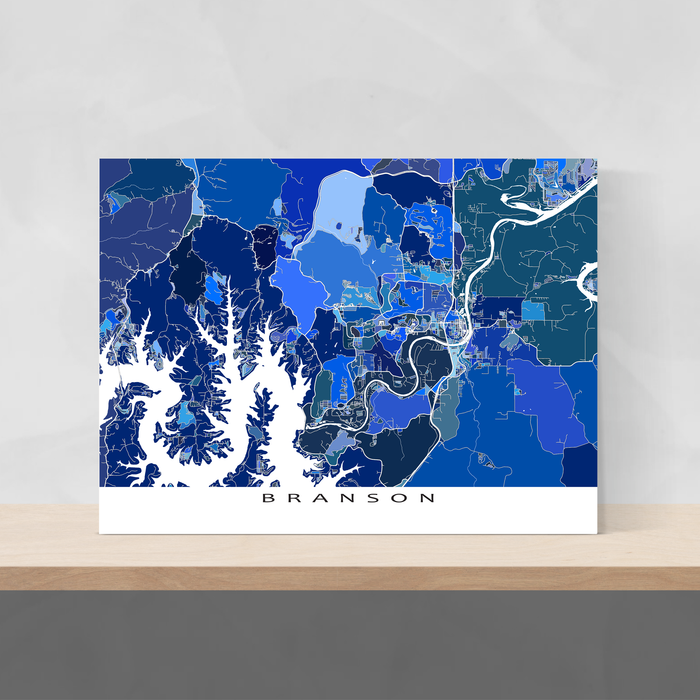 Branson, Missouri map art print in blue shapes designed by Maps As Art.