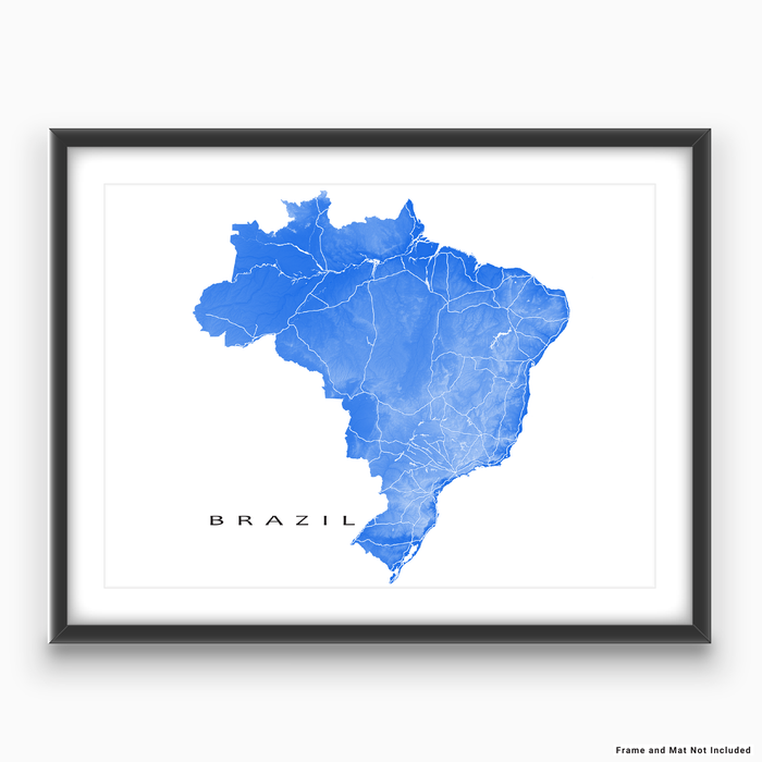 Brazil map print with natural landscape and main roads in Blue designed by Maps As Art.