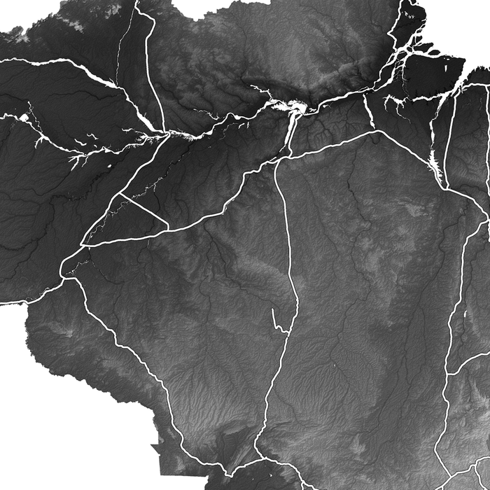 Brazil map print close-up with natural landscape and main roads designed by Maps As Art.