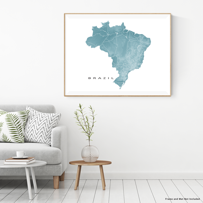 Brazil map print with natural landscape and main roads in Marine designed by Maps As Art.