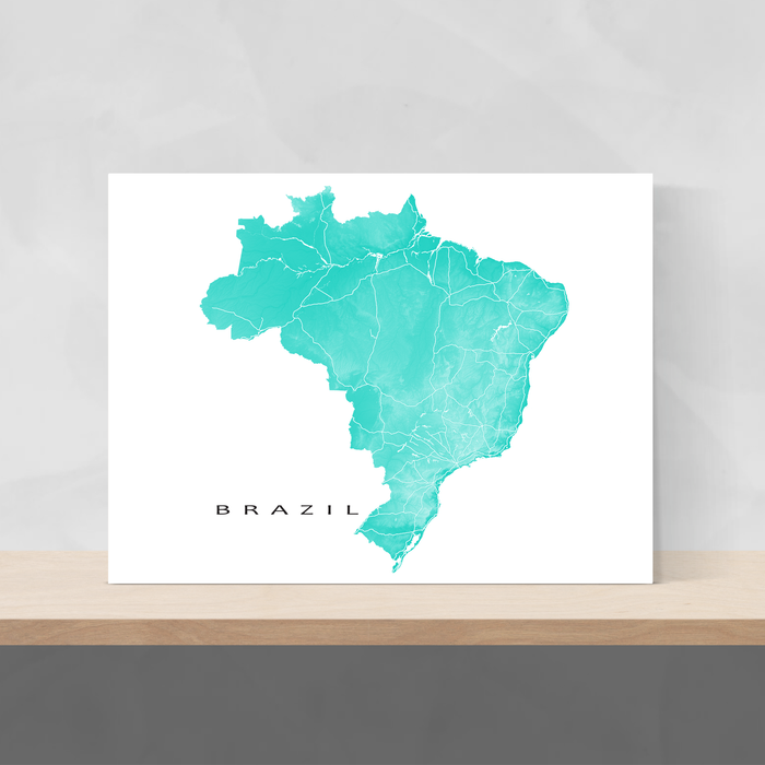 Brazil map print with natural landscape and main roads in Turquoise designed by Maps As Art.