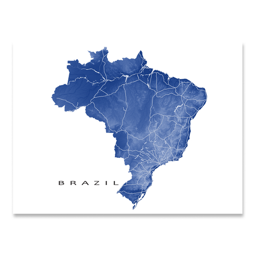 Brazil map print with natural landscape and main roads in Navy designed by Maps As Art.