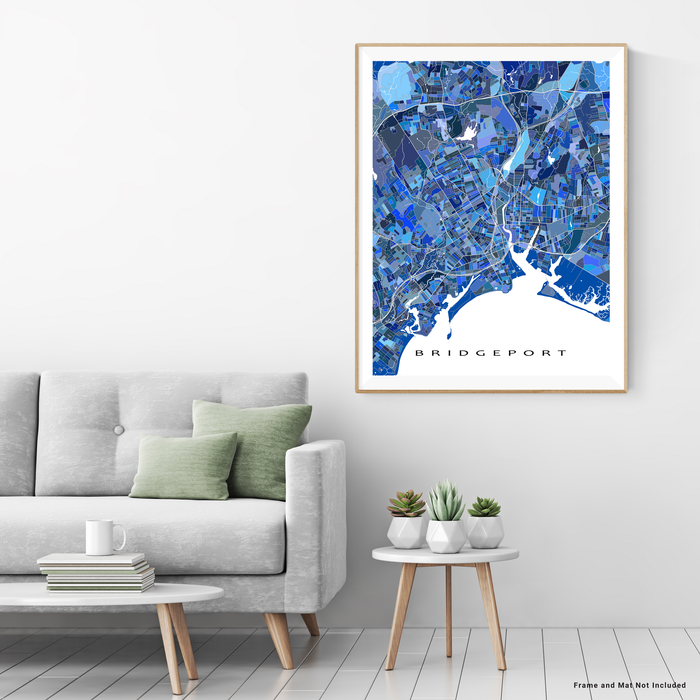 Bridgeport, Connecticut map art print in blue shapes designed by Maps As Art.