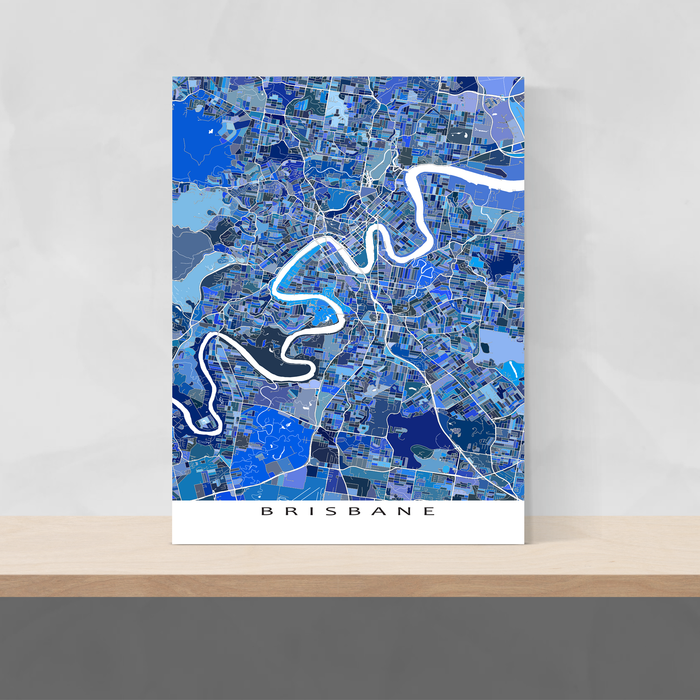 Brisbane, Australia map art print in blue shapes designed by Maps As Art.