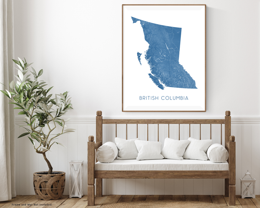 British Columbia map print with wooden bench home decor by Maps As Art.