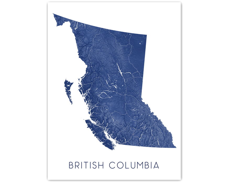 British Columbia map print in Midnight by Maps As Art.