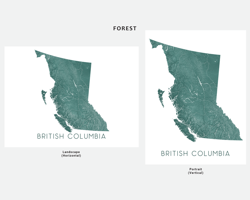 British Columbia map print in Forest by Maps As Art.