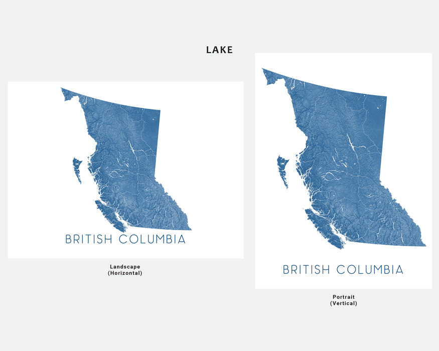 British Columbia map print in Lake by Maps As Art.