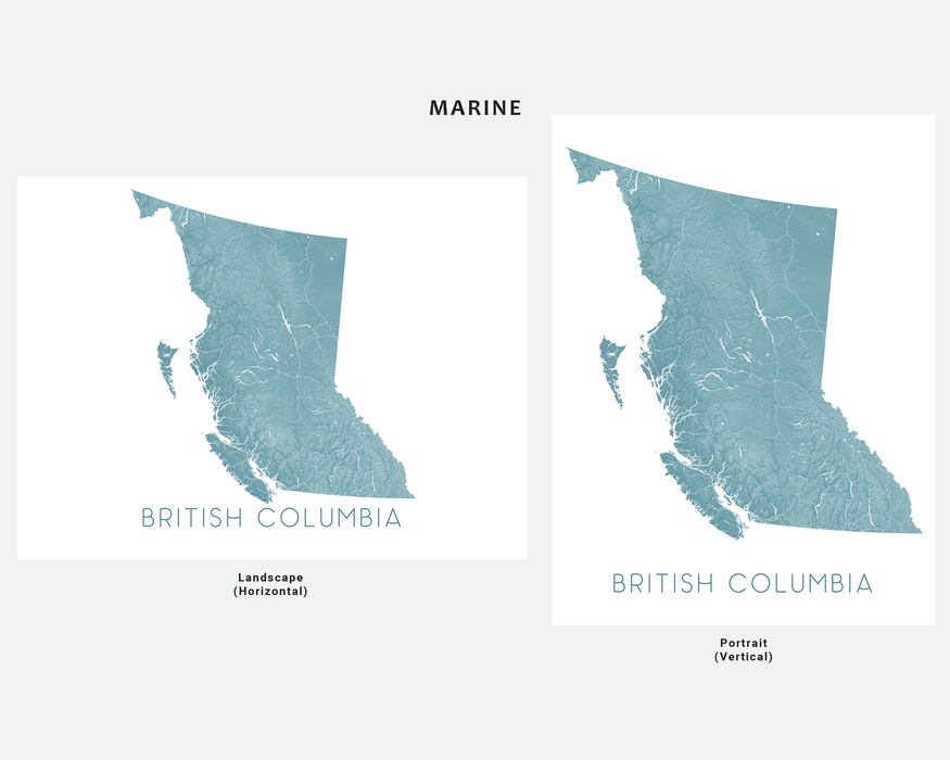 British Columbia map print in Marine by Maps As Art.