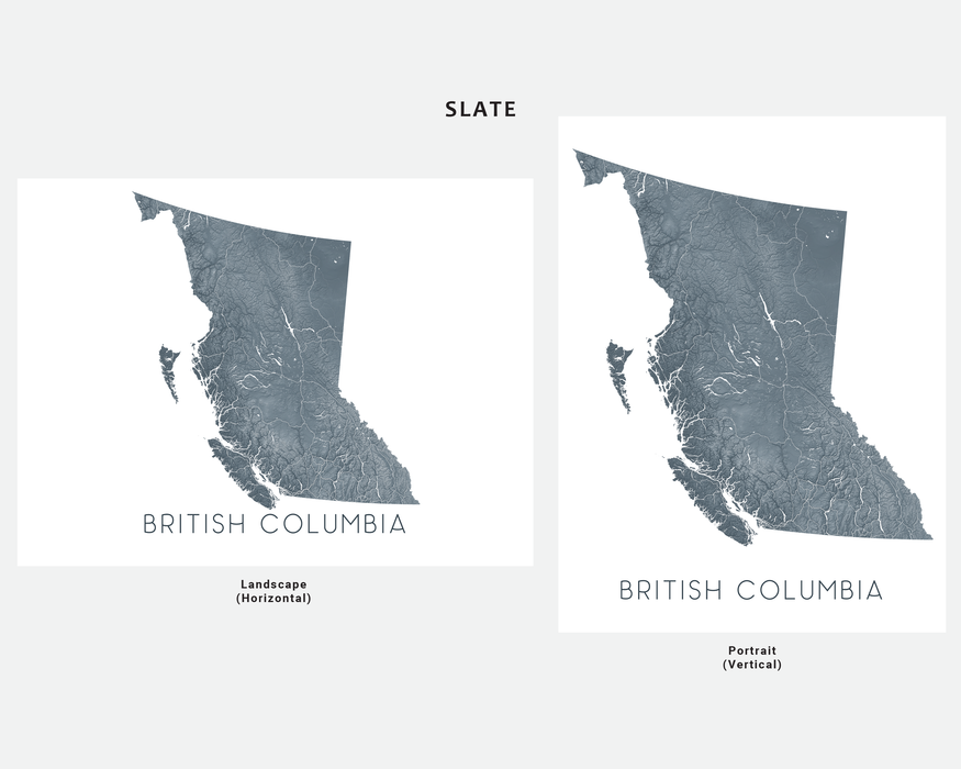British Columbia map print in Slate by Maps As Art.