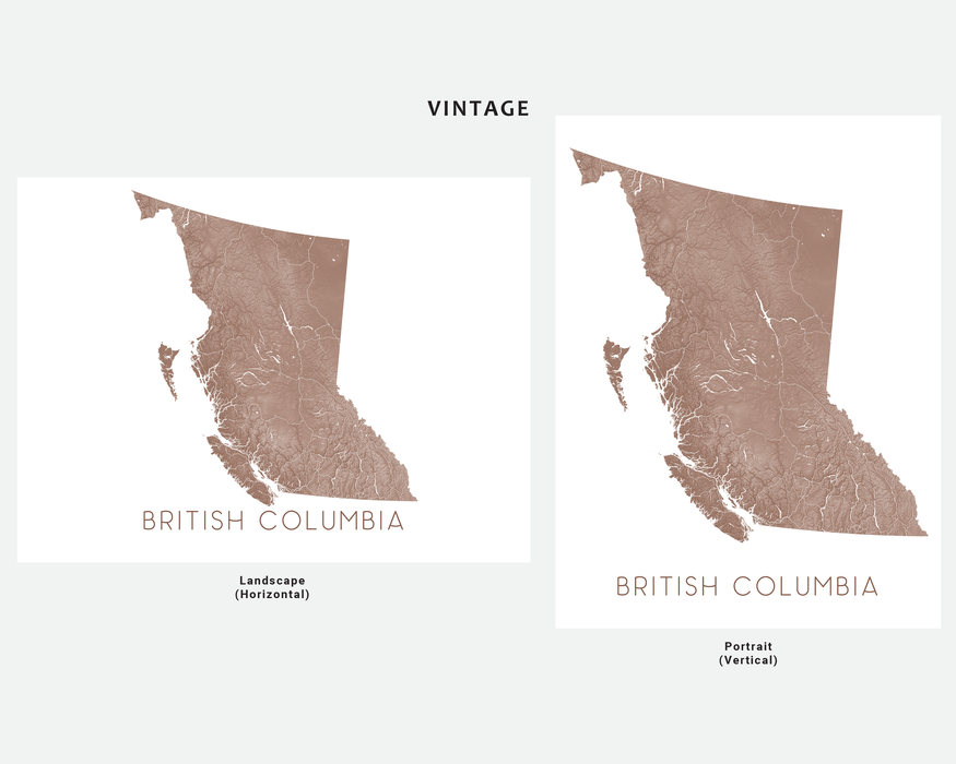 British Columbia map print in Vintage by Maps As Art.