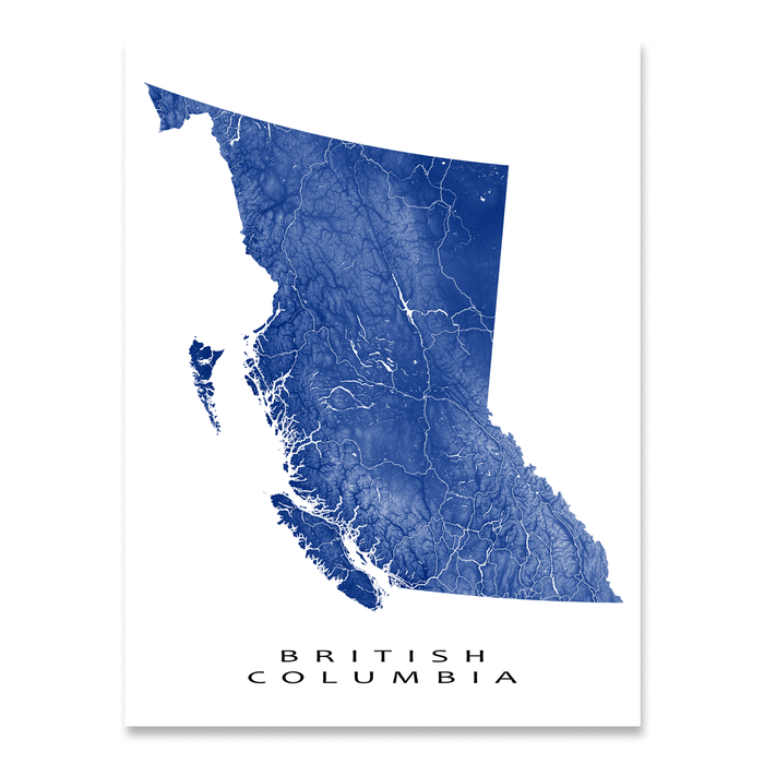 British Columbia, Canada map print with natural landscape and main roads in Navy designed by Maps As Art.