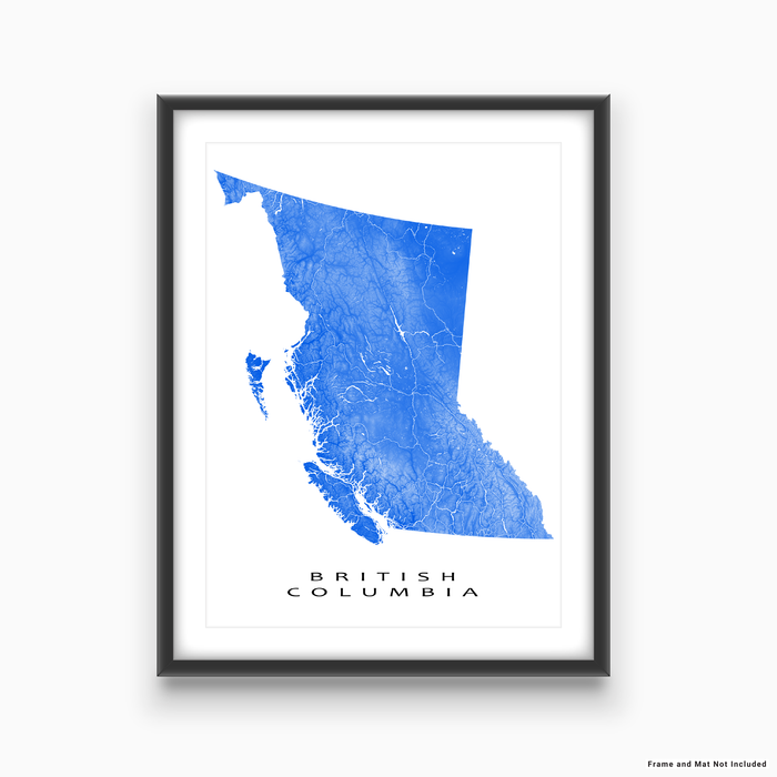 British Columbia, Canada map print with natural landscape and main roads in Blue designed by Maps As Art.