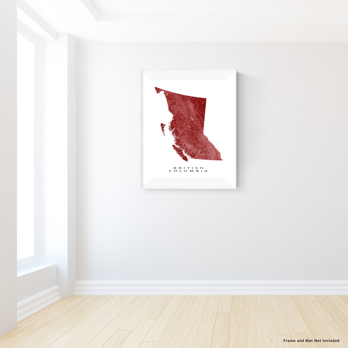 British Columbia, Canada map print with natural landscape and main roads in Merlot designed by Maps As Art.