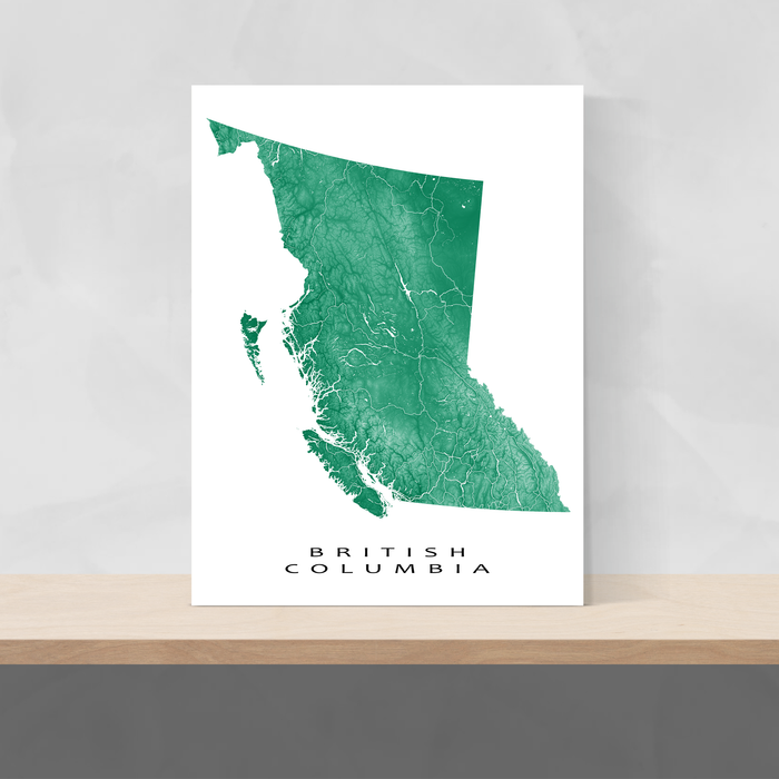 British Columbia, Canada map print with natural landscape and main roads in Green designed by Maps As Art.
