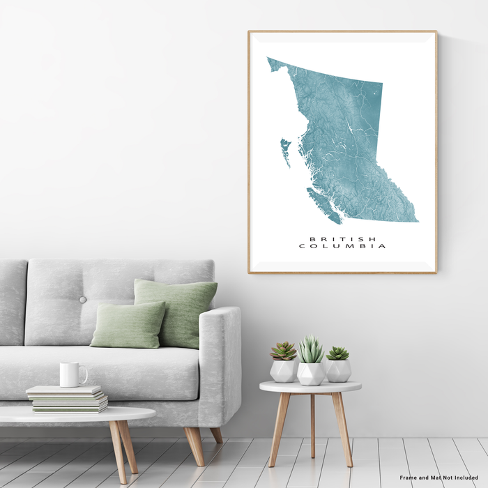 British Columbia, Canada map print with natural landscape and main roads in Marine designed by Maps As Art.