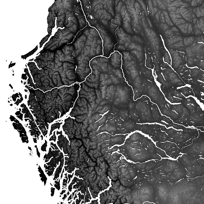British Columbia, Canada map print close-up with natural landscape and main roads designed by Maps As Art.