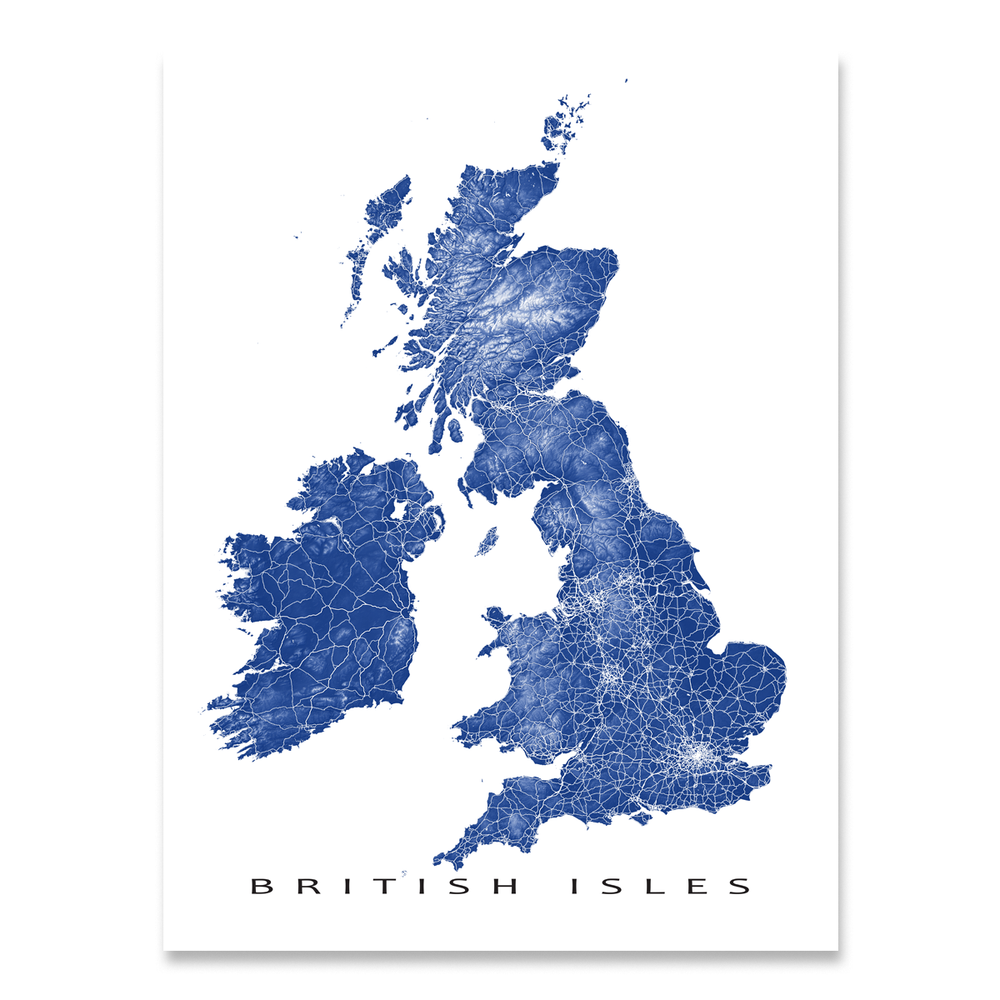 British Isles map print with natural landscape and main roads in Navy designed by Maps As Art.