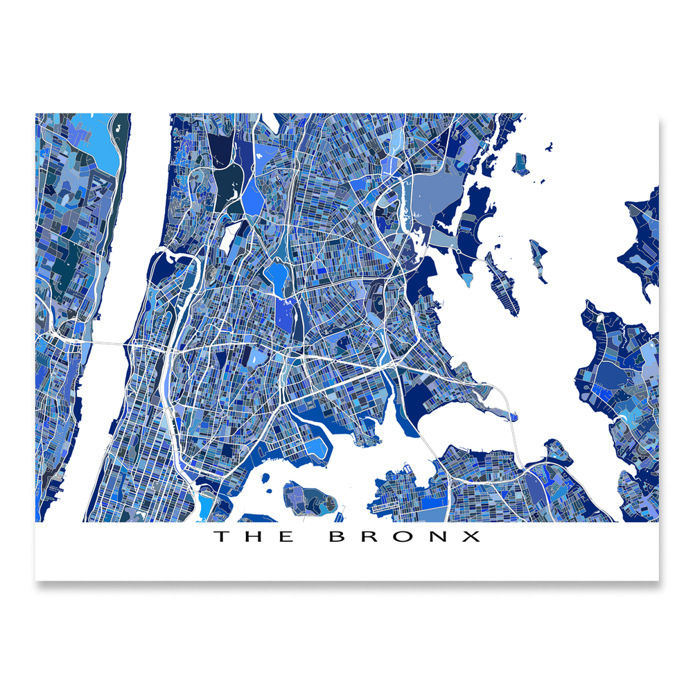 The Bronx, New York City map art print in blue shapes designed by Maps As Art.