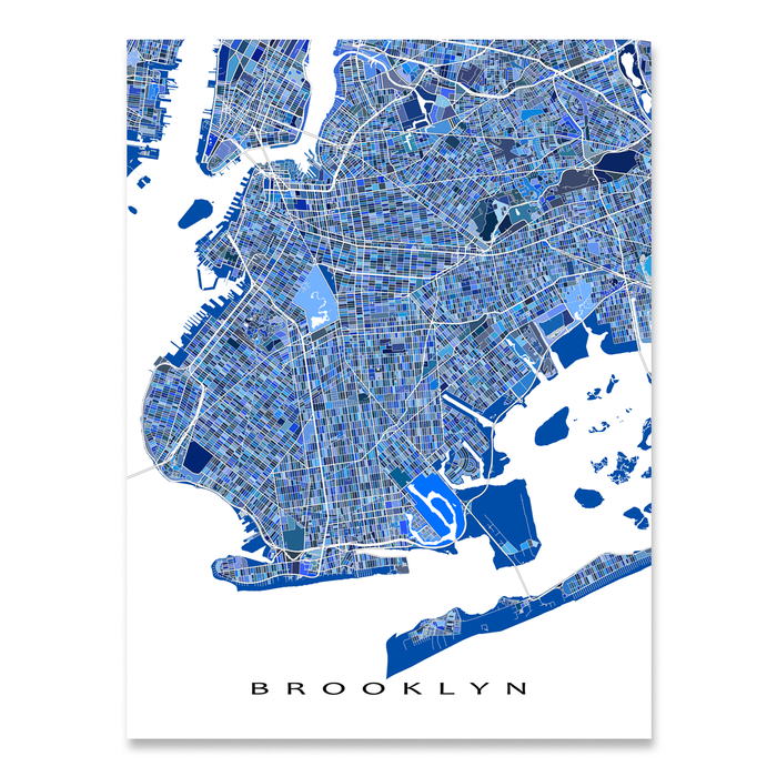 Brooklyn, New York City map art print in blue shapes designed by Maps As Art.