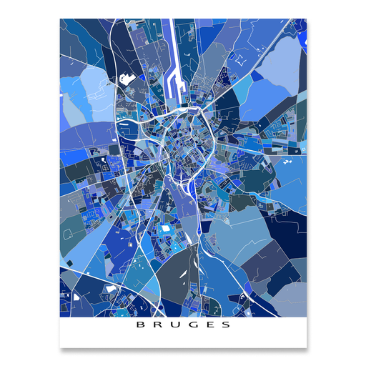 Bruges, Belgium map art print in blue shapes designed by Maps As Art.