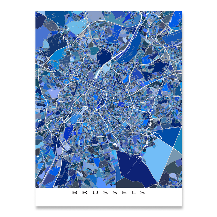 Brussels, Belgium map art print in blue shapes designed by Maps As Art.