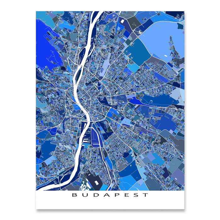 Budapest, Hungary map art print in blue shapes designed by Maps As Art.