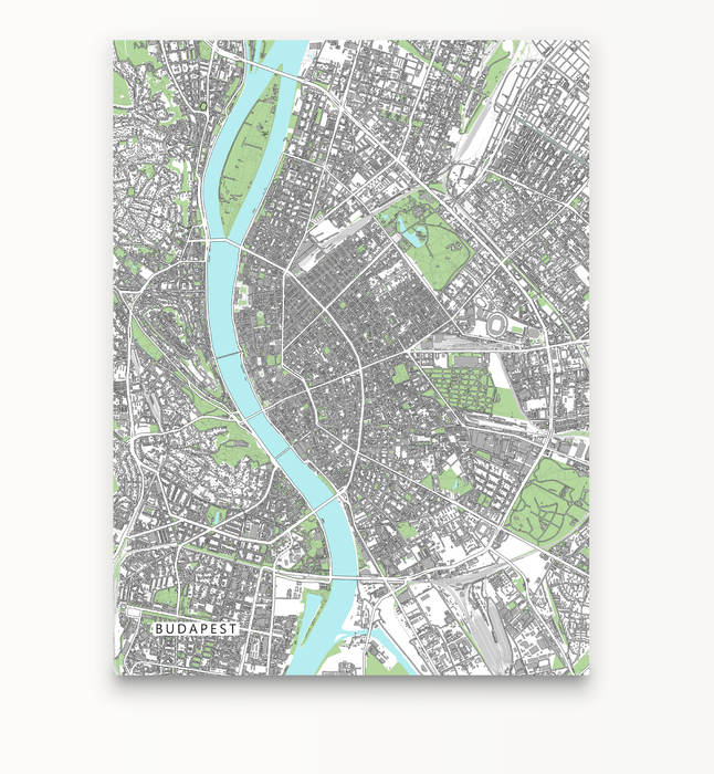 Budapest, Hungary map art print with city streets and buildings designed by Maps As Art.