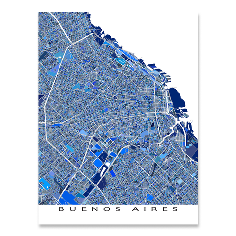 Buenos Aires Map Print, Argentina, Blue