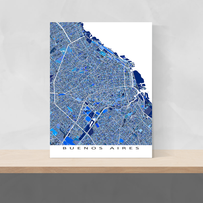 Buenos Aires, Argentina map art print in blue shapes designed by Maps As Art.