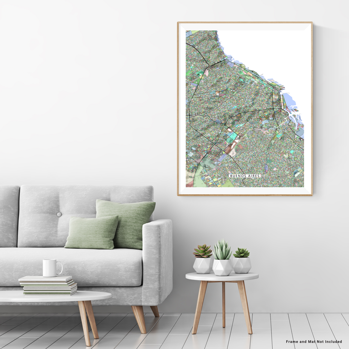 Buenos Aires, Argentina map art print in colorful shapes designed by Maps As Art.