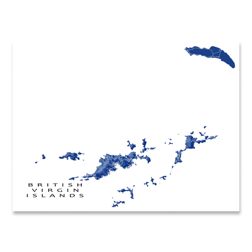 British Virgin Islands map print with natural landscape and main roads in Navy designed by Maps As Art.