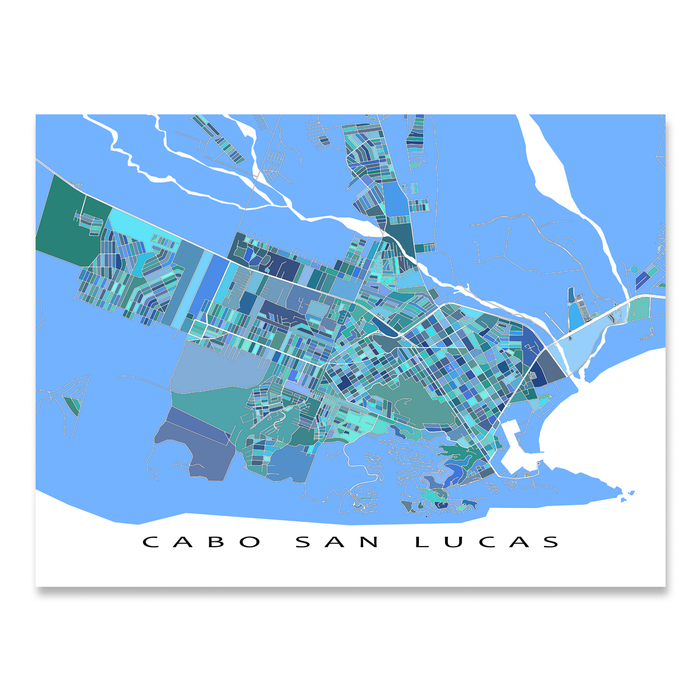 Cabo San Lucas, Mexico map art print in blue, aqua and turquoise shapes designed by Maps As Art.