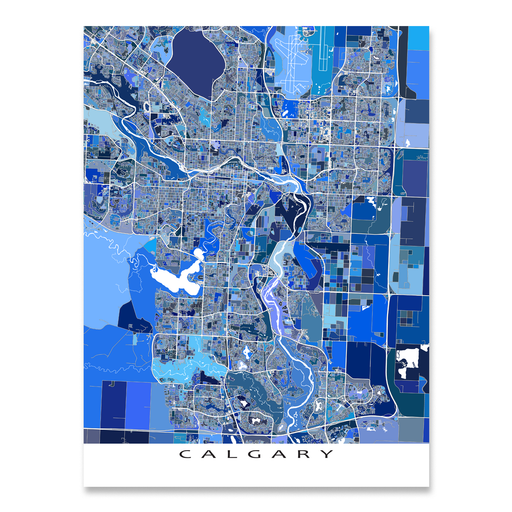 Calgary, Canada map art print in blue shapes designed by Maps As Art.
