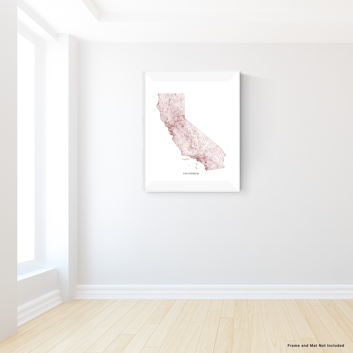 PLACE state map art print in a geometric minimalist style designed by Maps As Art.