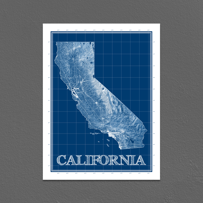 California state blueprint map art print designed by Maps As Art.