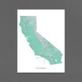 California Map Print, Aqua Landscape