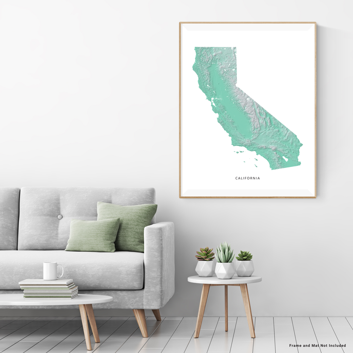 California state map with natural landscape in aqua tints designed by Maps As Art.