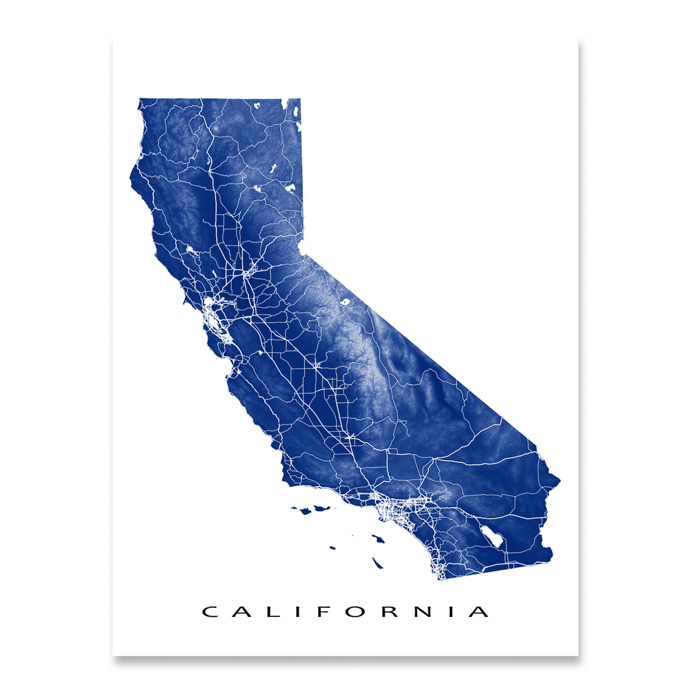 California map print with natural landscape and main roads in Navy designed by Maps As Art.