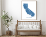 California map print in Lake with wood bench home decor by Maps As Art.