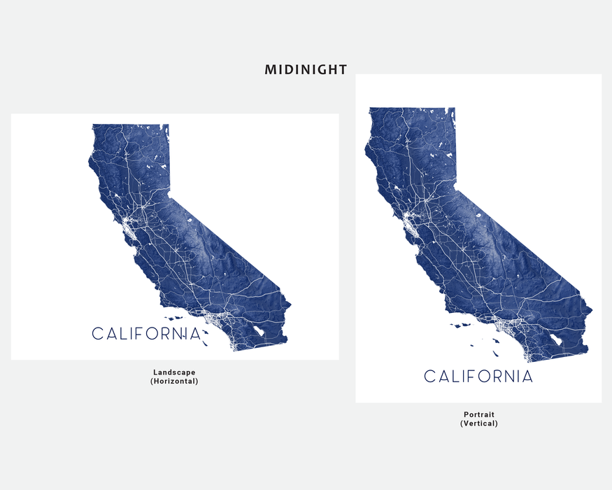 California map print by Maps As Art in Midnight.