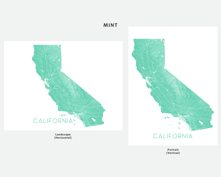 California map print by Maps As Art in Mint.