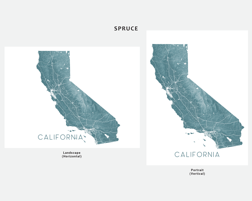 California map print by Maps As Art in Spruce.