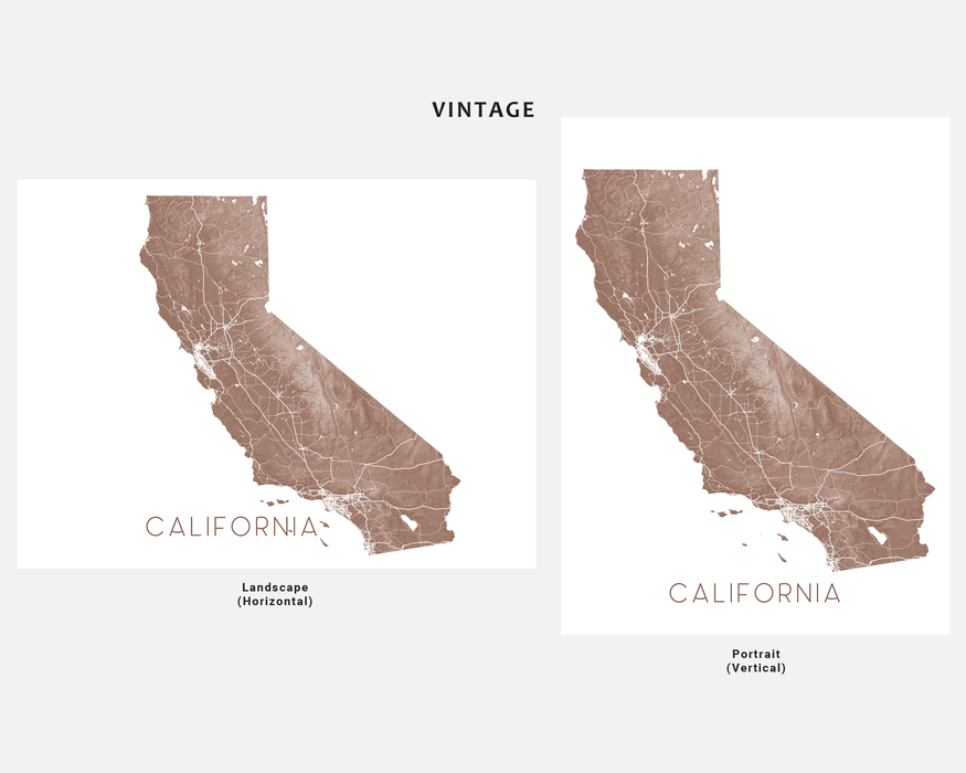 California map print by Maps As Art in Vintage.