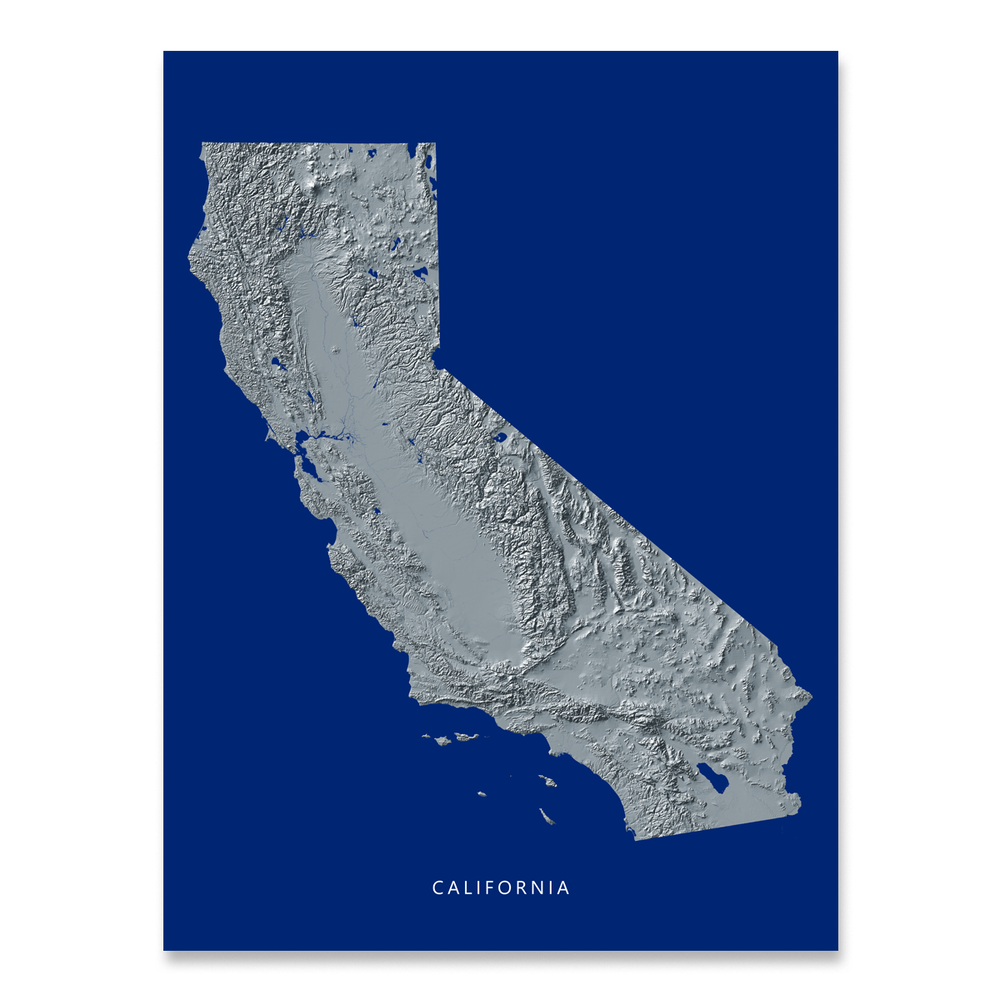 California state map with natural landscape in greyscale and a navy blue background designed by Maps As Art.