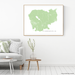 Cambodia map print with natural landscape and main roads in Sage designed by Maps As Art.