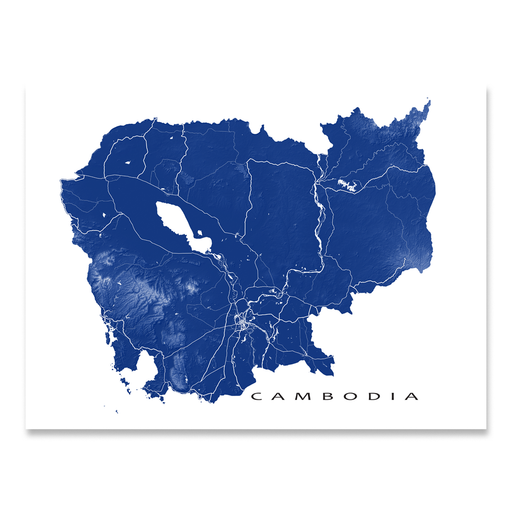 Cambodia map print with natural landscape and main roads in Navy designed by Maps As Art.