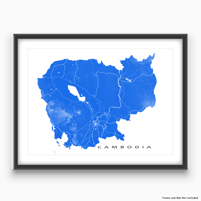Cambodia map print with natural landscape and main roads in Blue designed by Maps As Art.